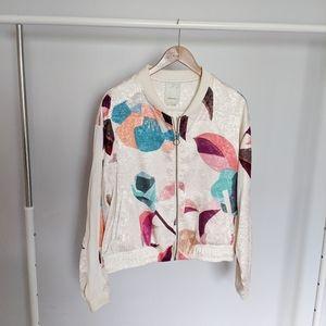 Anthropologie Elevenses Printed Bomber Jacket